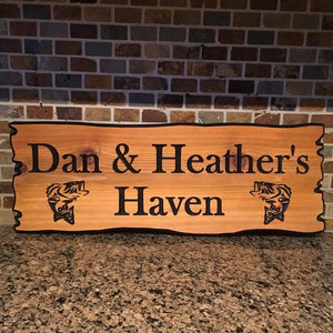 "8""x22"" Custom Carved Cedar Sign"