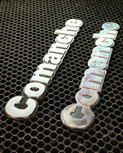 CNC Machined Billet Aluminum Comanche Emblem PAIR