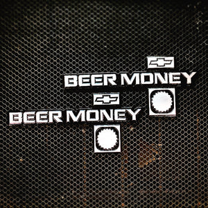 CUSTOM ORDER 2 Billet Aluminum CNC Machined Beer Money Emblems