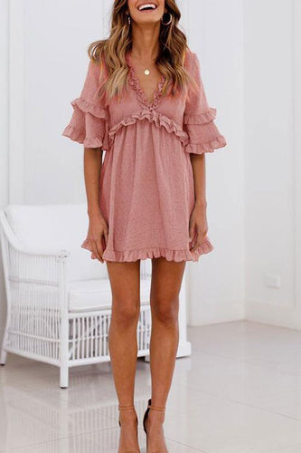 Zraus Daily V Neck Ruffle Design Mini Dress