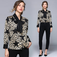 Load image into Gallery viewer, The new leopard shirt dress bowknot splicing long-sleeved shirt collar