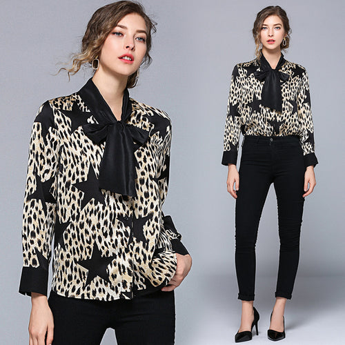 The new leopard shirt dress bowknot splicing long-sleeved shirt collar