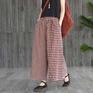 Vintage Cotton Linen Spliced Plaid Wide Leg Pants