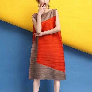 Womens A-Line Organ Pleated Sleeveless Dress