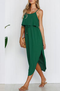 Zraus Spaghetti Strap Side Slit Dress