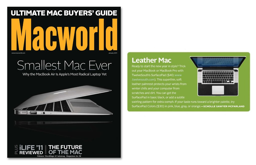 "Macworld: ""Trick out your MacBook or MacBook Pro with TwelveSouth's SurfacePad"""
