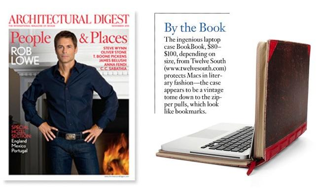 Twelve South BookBook for MacBook Pro featured in Architectural Digest – Nov 2010