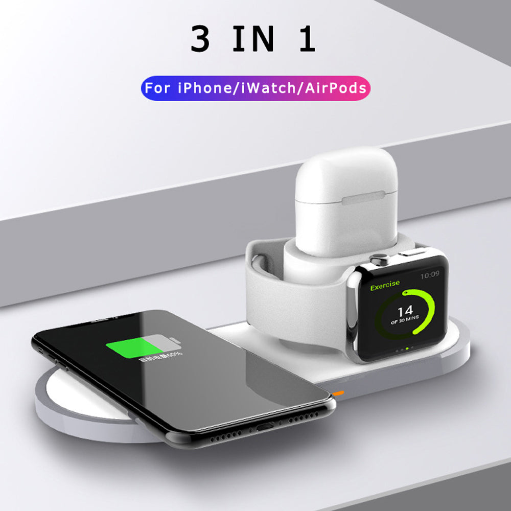 【Bisa COD!!!】3 IN 1 Fast QI Wireless Charger - Meet lucky