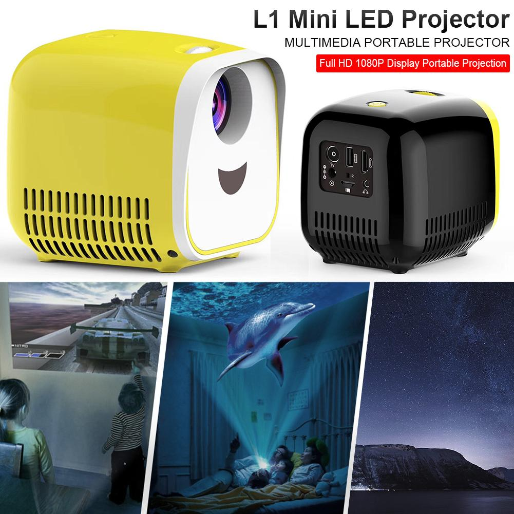 【Bisa COD!!!】L1 Mini Projector 1080P Full HD LED Movie proyektor Home Theater Video - Meet lucky