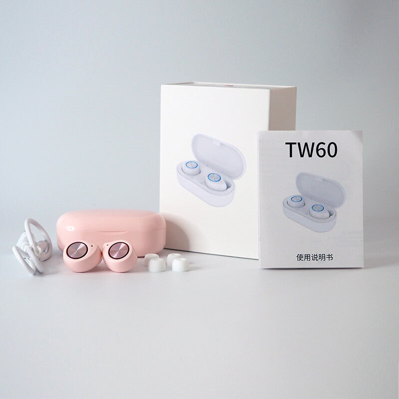 【Diskon 50%】TWS TW60 Pink Cute Bluetooth 5.0 Glowing Earphone - Meet lucky