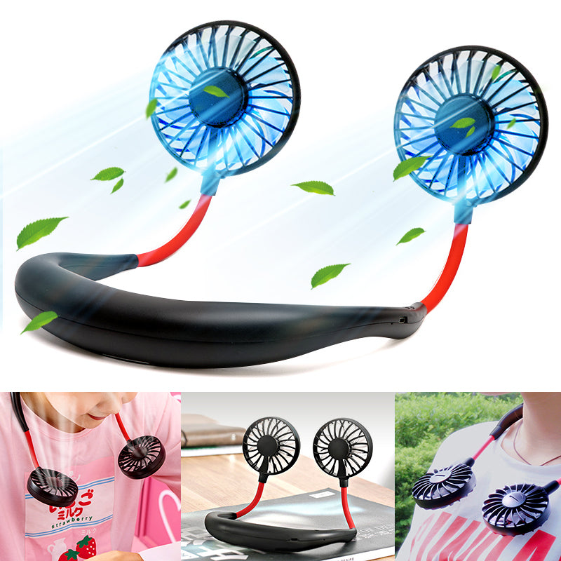 【Gratis Ongkir】USB Portable Fan Hands Free Neck Fan Hanging Rechargeable
