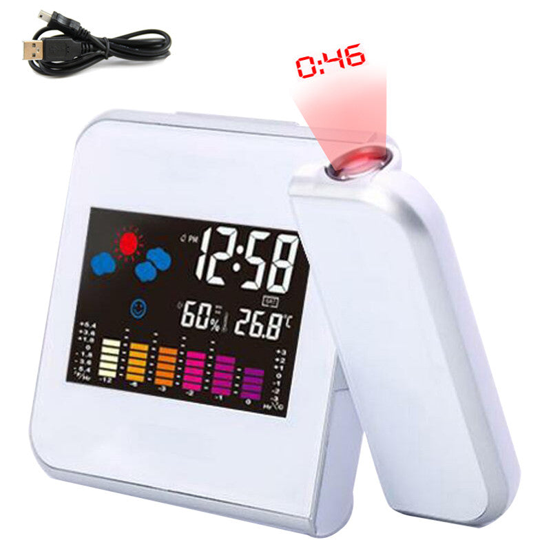 【Bisa COD!!!】Alarm Clock With Weather Station Thermometer Calendar LED Projection Digital Clock - Meet lucky