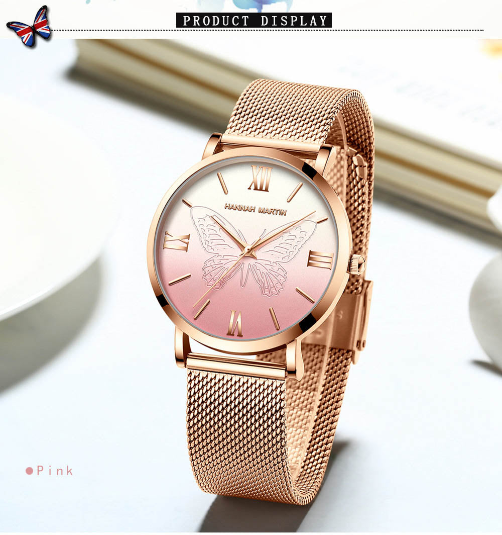 【Gratis Ongkir】Hannah Martin Women Watches Band 3D Butterfly - Meet lucky