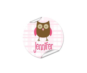 Owl Round Labels 48pk