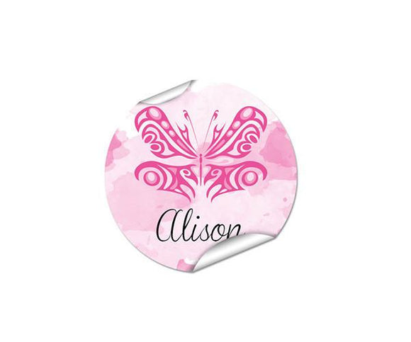 Pink Butterfly Round Labels 45pk