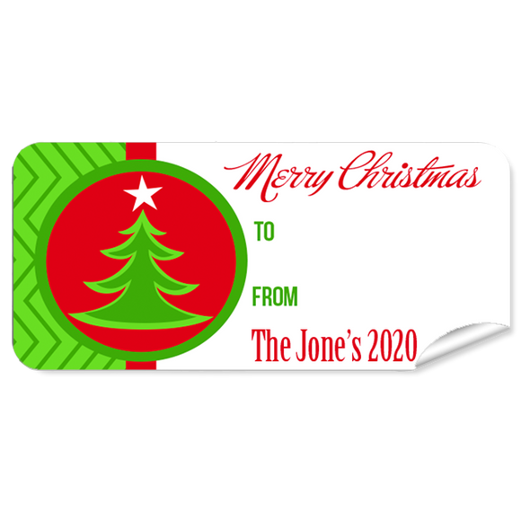 Green Tree Christmas Labels 27pk