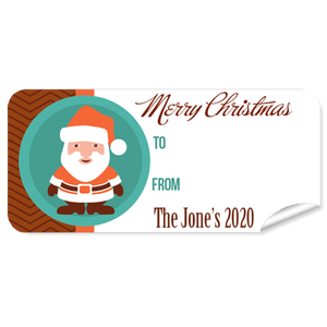 Orange Santa Christmas Labels 27pk