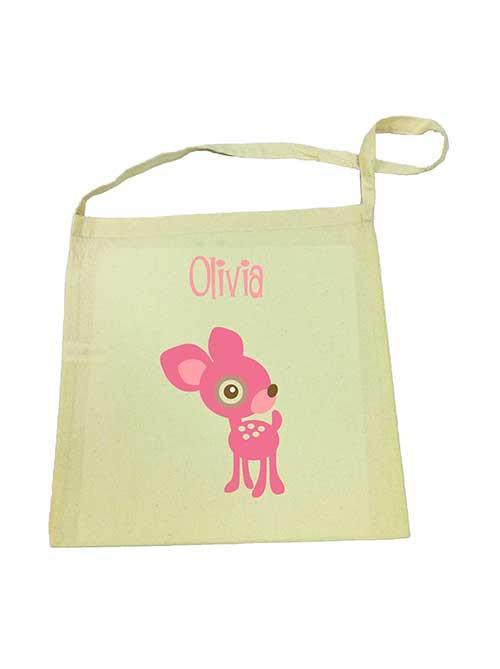 Pink Deer Library Bag