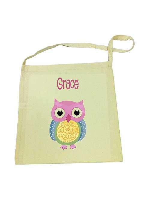 Pink Owl Library Bag