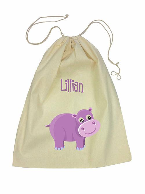 Purple Hippo Bag Drawstring