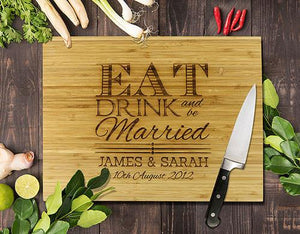 "Eat Drink Bamboo Cutting Board 8x11""cm"