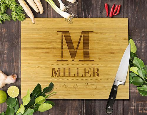 Surname Bamboo Cutting Board 8x11