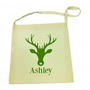 Green Reindeer Christmas Library Bag
