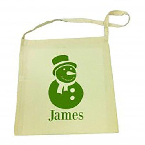 Green Snowman Christmas Library Bag