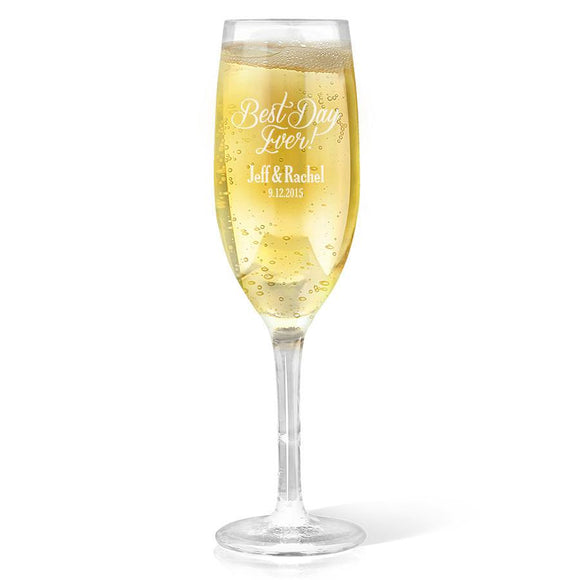 Best Day Ever Design Champagne Glass