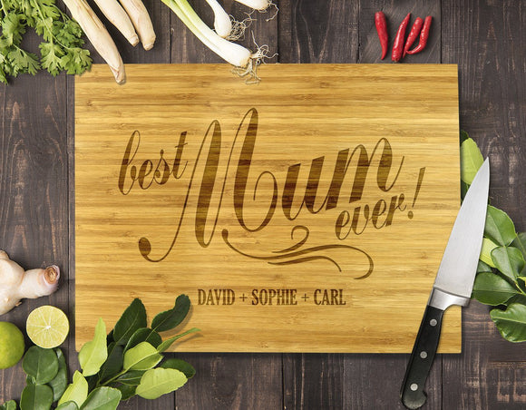Best Mum Ever Bamboo Cutting Board 8x11