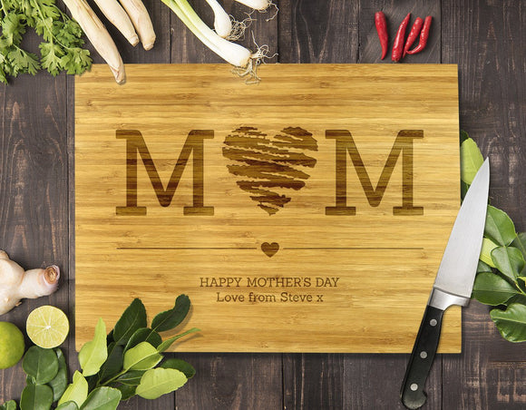 Mum Heart Bamboo Cutting Board 8x11