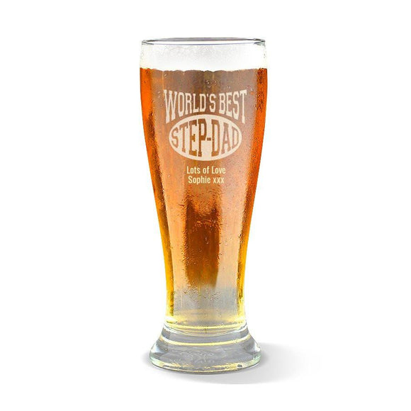 World's Best Step-Dad Premium 285ml Beer Glass