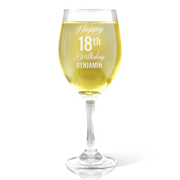 Fancy Happy Birthday Wine Glass (410ml)