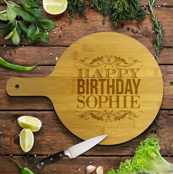 Happy Birthday Round Bamboo Serving Board