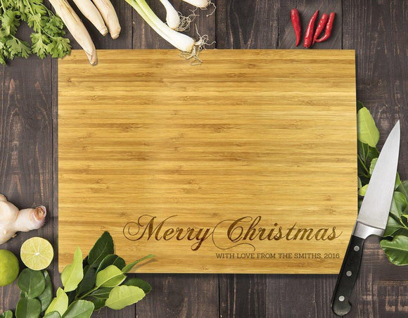 Merry Christmas Bamboo Cutting Board 12x16