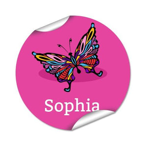 Butterfly Round Labels 48pk