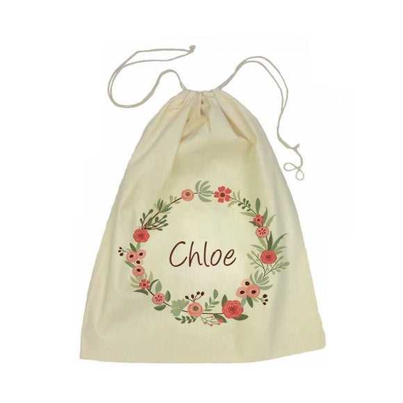 Flower Wreath Drawstring Calico Tote Bag