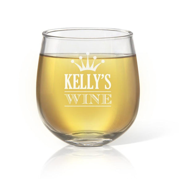 Crown Stemless Wine Glass