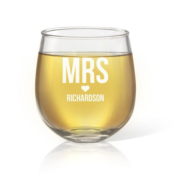 Mrs Love Stemless Wine Glass