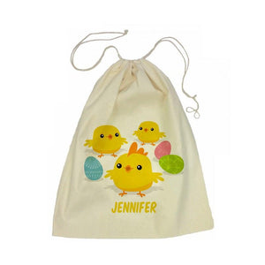 Easter Chicks Calico Drawstring Bag