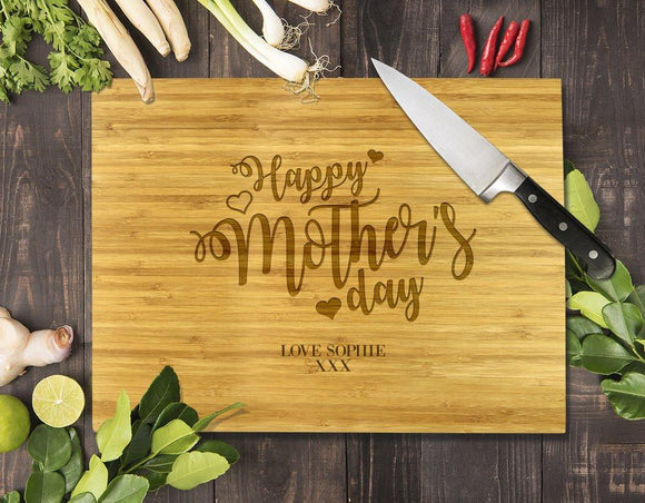 Heart Happy Mother's Day Bamboo Cutting Board 12x16
