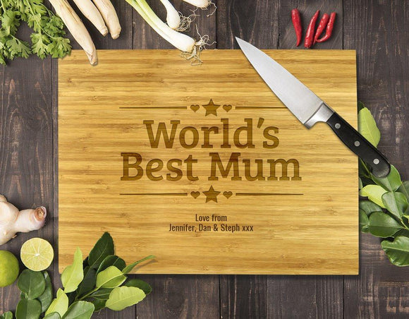World's Best Mum Bamboo Cutting Board 12x16