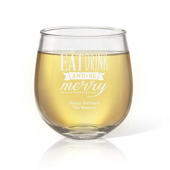 Be Merry Stemless Wine Glass