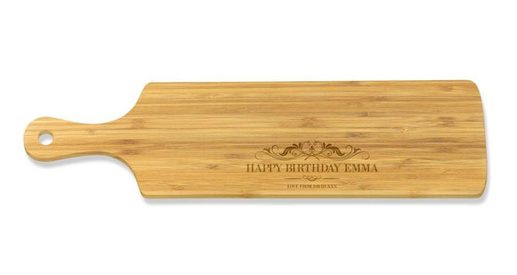 Happy Birthday Long Bamboo Serving Board