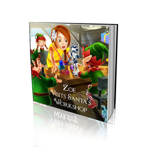 Visits Santa's Workshop Large Soft Cover Story Book