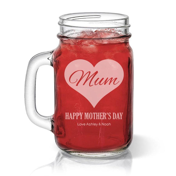 Mum in Heart Glass Mason Jar