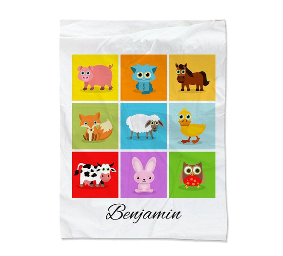 Farm Animal Collage Blanket Large