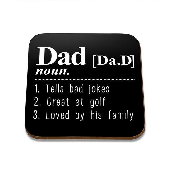 Dad Noun Square Coaster - Single