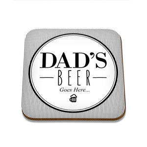 Dad's Beer Square Coaster - Set of 4