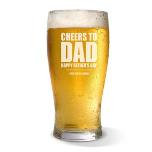 Cheers to Dad Standard 425ml Beer Glass